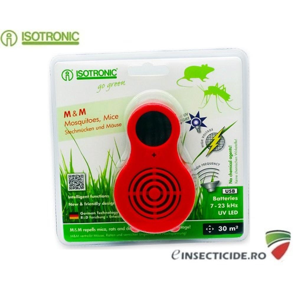 Isotronic M&M 77010 aparat portabil UV Led anti tantari si muste cu ultrasunete anti soareci/sobolani 30mp