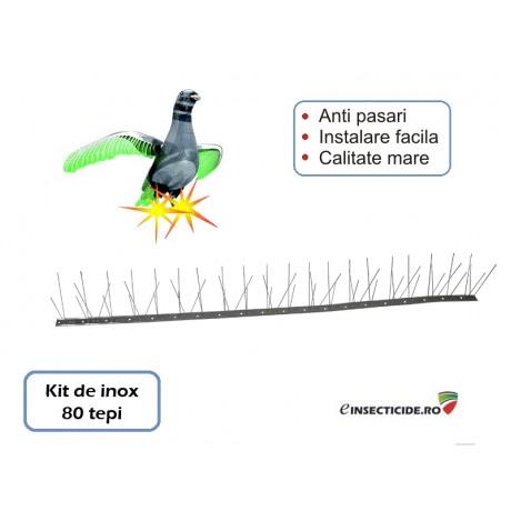Kit anti-porumbei - Banda pe suport inox (80 tepi, 1m lungime)