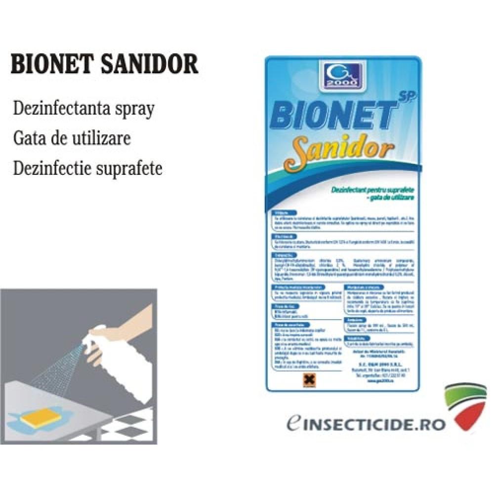 Spray dezinfectant de contact fara aldehide, gata preparat -  Bionet SP Sanidor (1L)