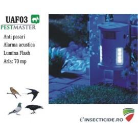 Aparat impotriva pasarilor cu alarma acustica si lampa flash - UAF03 (70 mp)