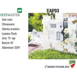 Anti caini si animale cu ultrasunete, alarma acustica si flash (70 mp) - Pestmaster UAF03