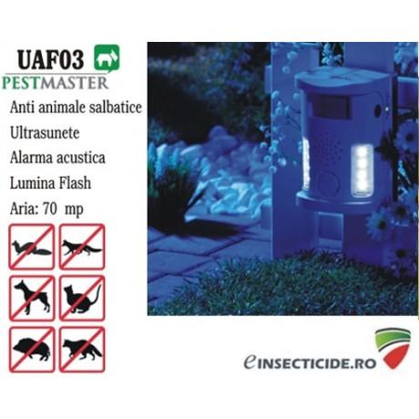 Dispozitiv cu ultrasunete, alarma acustica si flash anti animale salbatice (70mp) - Pestmaster UAF03