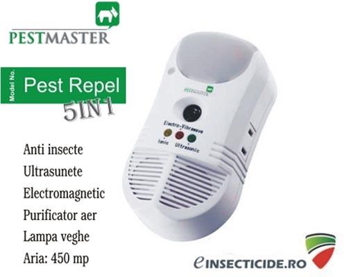 Control insecte cu ultrasunete si purificator de aer (450mp) - Pest Repel 5in1