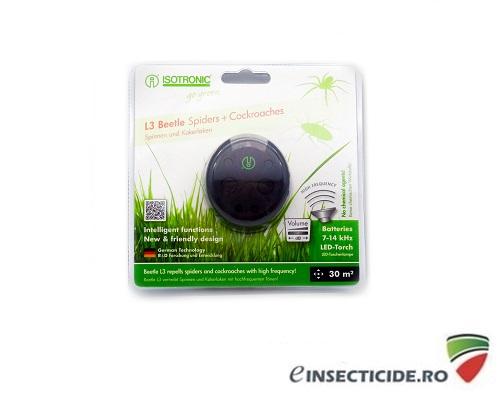 Aparat portabil cu ultrasunete si lanterna incorporata impotriva paienjenilor si gandacilor - L3 Beetle 70510 (30mp interior)/(6mp exterior)