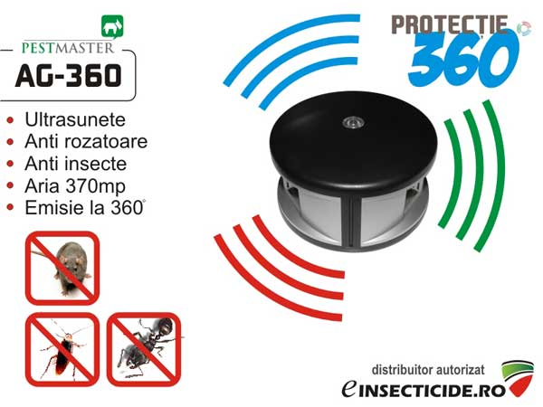 Pestmaster AG360 dispozitiv electronic cu ultrasunete pentru alungarea gandacilor si insectelor taratoare (370mp)