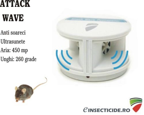 Attack Wave Pest Repeller aparat cu ultrasunete anti soareci si rozatoare (450mp)