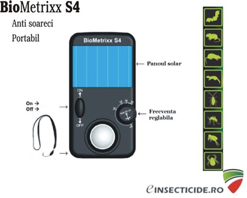 Aparat cu ultrasunete anti soareci solar (25 mp) - Biometrixx S4