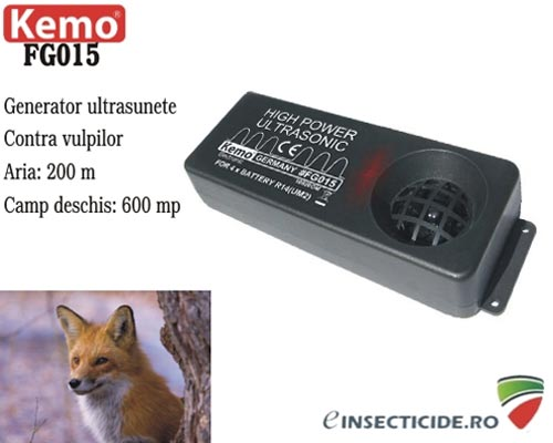 Dispozitiv piezo electric cu ultrasunete de mare putere anti vulpi (Fox Repeller) 200 mp - FG015