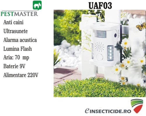 Anti caini si animale cu ultrasunete, alarma acustica si flash (70 mp) - Pestmaster UAF03