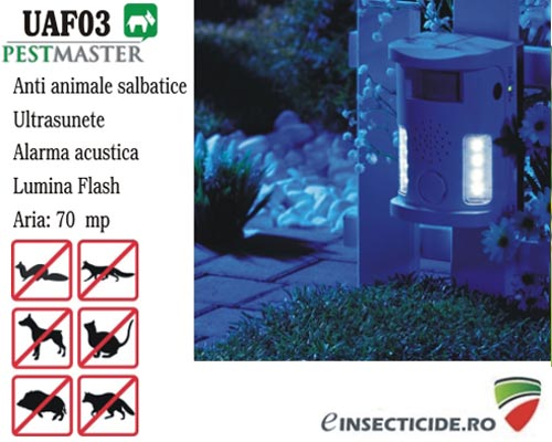 Dispozitiv cu ultrasunete, alarma acustica si flash anti animale salbatice (70mp) - Pestmaster UAF03