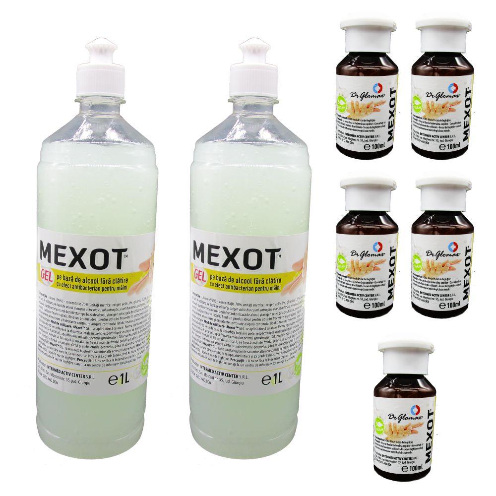 Pachet Mexot - Gel Dezinfectant pentru maini cu alcool, fara clatire, 1lx2 si 5buc. 100ml