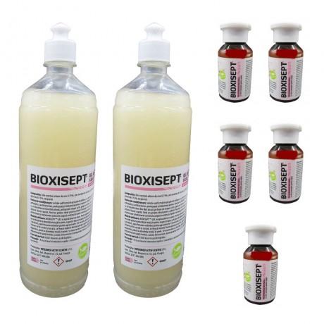 Pachet Bioxisept Gel Dezinfectant pentru maini, fara clatire cu efect antiseptic, 1lx2 si 5buc. 100ml