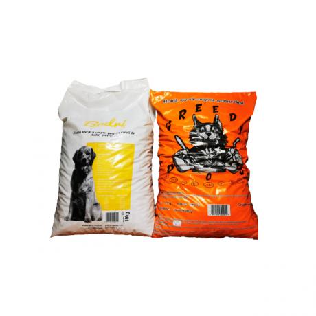 Pachet format din 2 saci de 10 kg hrana catei Bodri si Greedy