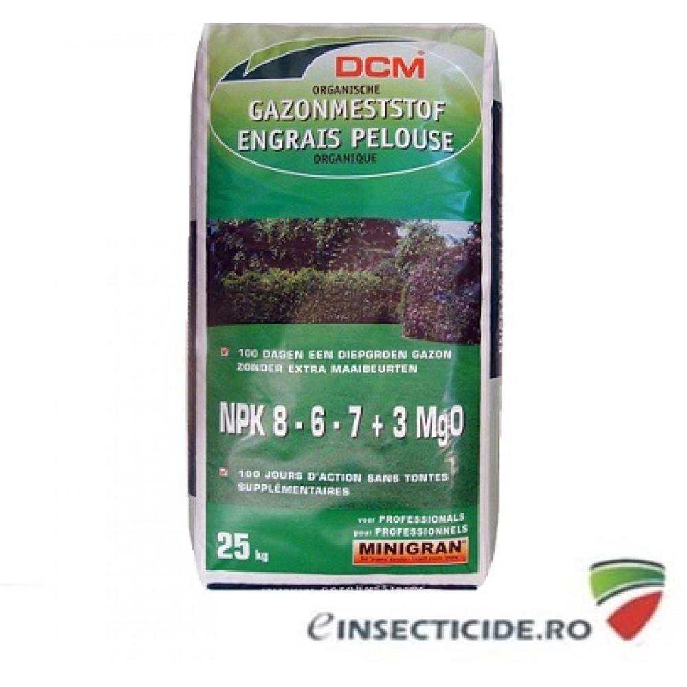 Fertilizant cu materii organice pentru intretinerea peluzei NPK 8-6-7+3 MgO DCM (25 Kg)