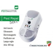 Control insecte cu ultrasunete si purificator de aer (450mp) - Pest Repel 5in1