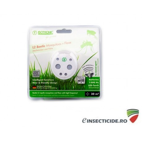 Aparat cu ultrasunete portabil impotriva tantarilor si purecilor - L2 Beetle 70505 (30mp interior)/(6mp exterior)