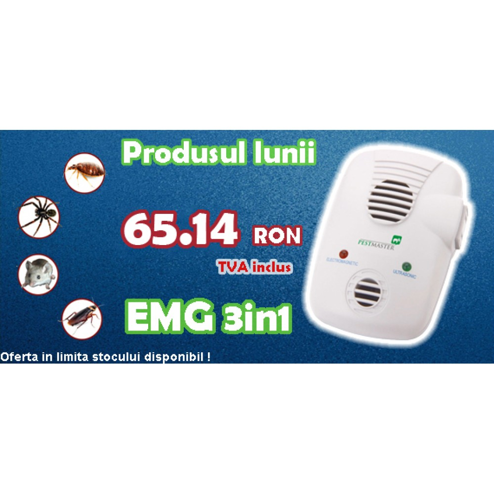 Dispozitiv anti soareci cu ultrasunete si unde electromagnetice (200mp) - EMG 3in1