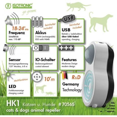 HK1 70565 dispozitiv portabil cu ultrasunete si senzor PIR pentru alungarea cainilor (raza 10m/120°)