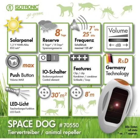 SpaceDog 70550 dispozitiv (cu lanterna) portabil cu ultrasunete si alimentare solara pentru alungarea cainilor (30 mp interior-8 m exterior)