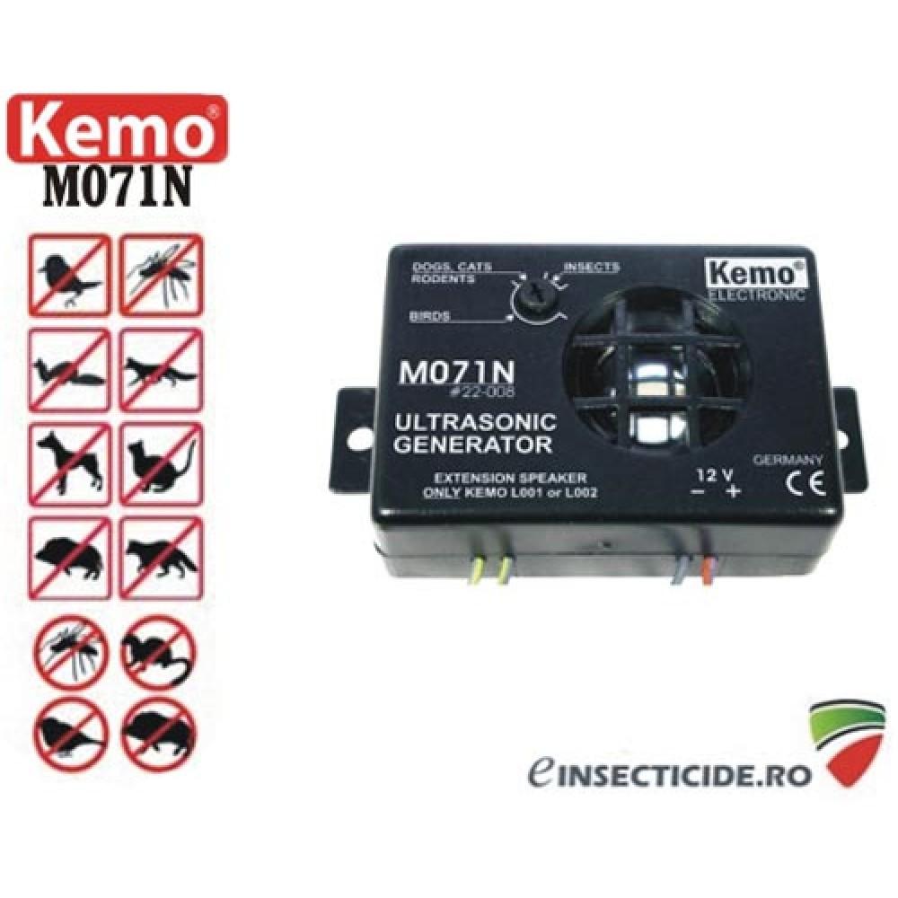 Dispozitiv generator de ultrasunete cu alimentare la 12V pentru protectia auto impotriva rozatoarelor - M071