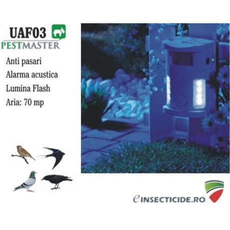 Impotriva pasarilor cu alarma acustica si lampa flash (70 mp) - UAF03