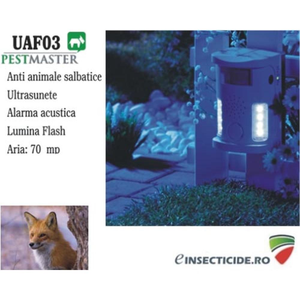 Anti vulpi cu ultrasunete si alarma acustica (70 mp) - Pestmaster UAF03